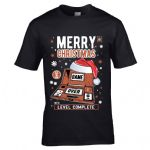 Premium Retro Christmas Santa Hat Handheld Gaming Old School Game & Watch Mens Xmas T-Shirt Top